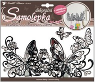 Wall Sticker w/outline and Hook 25x16 cm, Black Butterflies