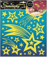 Wall Sticker Glow in the Dark 31x29 cm, Shooting Star and Stars