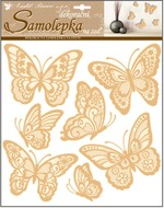 Wall Sticker 30,5 x 30,5 cm, Gold Butterflies