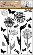 Wall Sticker 41 x 29 cm, Flowers with glitter