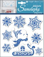 Sticker 18 x 17,5 cm, Pop up with  Blue Glitter, Bear and Snowflakes