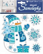 Sticker 18x16 cm, Pop up, Snowman and Snowflakes