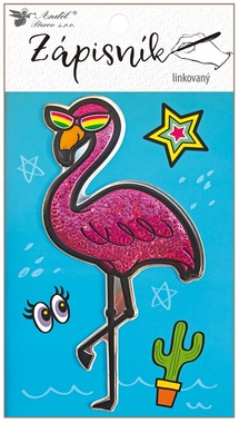 Notebook 10,5 x 15 cm, Stitched, Lined, 3D Flamingo