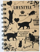 Notebook 10,5 x 15 cm, Spiral, Lined, Cats