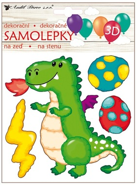 Balloon 3D Wall Sticker Little Dragon 18 x 23 cm