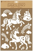 Wall Stickers w/Glitter 27,5 x 41 cm, White Unicorns