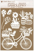 Wall Stickers w/Glitter 27,5 x 41 cm, White Bicycle