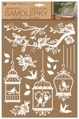 Wall Stickers w/Glitter 27,5 x 41 cm, White Bird Cages