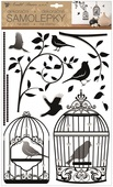 Wall Stickers w/Glitter 29 x 48 cm, Bow w/Cage and Birds