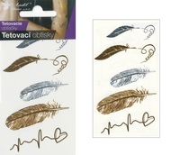 Metallic Tattoo Stickers 10,5x6 cm - Feather