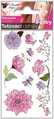 Glitter Tattoo Stickers 10,5x6 cm- Pink Flowers
