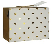 Folding Gift Bag w/Golden Hearts 27x20x13 cm