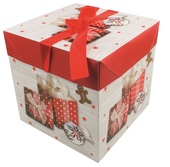 Foldable Gift Box with Ribbon XS 10,5x10,5x10,5 cm