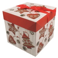 Foldable Gift Box with Ribbon M  16,5x16,5x16,5 cm