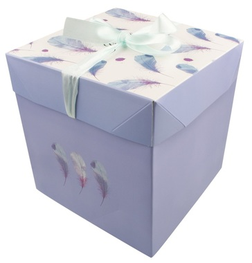 Foldable Gift Box with Ribbon M  16,5x16,5x16,5 cm Feathers