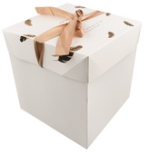 Foldable Gift Box with Ribbon XS 10,5x10,5x10,5 cm Gold Feathers