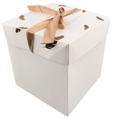 Foldable Gift Box with Ribbon M  16,5x16,5x16,5 cm Gold Feathers