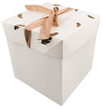 Foldable Gift Box with Ribbon L 21,5x21,5x21,5 cm Gold Feathers