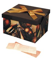 Foldable Gift Box with Ribbon L 22x22x13 cm, Christmas theme