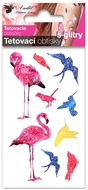 Glitter Tattoo Stickers 10,5x6 cm- Flamingos