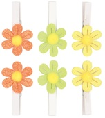 Glitter Flowers on Peg 5 cm, 6 pcs in polybag