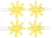 Glitter Yellow Flowers on Peg 5 cm, 4 pcs in polybag