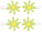Glitter Green Flowers on Peg 5 cm, 4 pcs in polybag