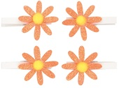 Glitter Orange Flowers on Peg 5 cm, 4 pcs in polybag