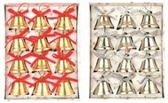 Bells, 12 pcs in box, gold, 2,5 cm