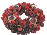 Advent Wreath red 40 cm, 4 glass cups