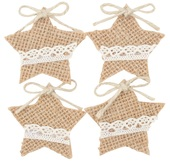 Jute Star with Double-sided Sticker 4,5 cm, 4 pcs