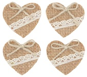 Jute Heart with Double-sided Sticker 4,5 cm, 4 pcs
