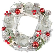 Advent Wreath, Grey with Red Baubles, Wooden, 30 cm