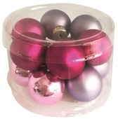 Glass Balls 2,5 cm, set of 12 pcs Purple