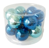 Glass Balls 2 cm, set of 12 pcs Navy Blue