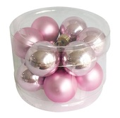 Glass Balls 2 cm, set of 12 pcs Rose Pink