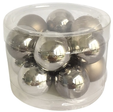Glass Balls 2,5 cm, set of 12 pcs Grey