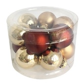 Glass Balls 2 cm, set of 12 pcs Brown