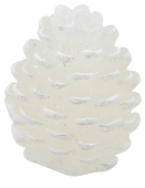 White Cone-Shaped Candle w/Glitter 9 x 6 cm