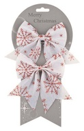 Bow, White with Red Snowflakes 13 cm, 2 pcs