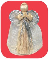 Angel 17 cm, Silver Design, Natural Abaca
