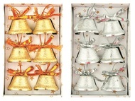 Bells 3 cm, 6 pcs Set, Silver and Gold
