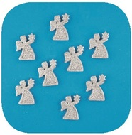 Angels Silver with Glitter 3,3 cm, 8 pcs