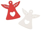 Wooden Angel 4,5 cm, 16 pcs in box,red and white,w/Tape