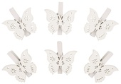 Wooden Butterfly 3 cm, on Peg, 6 pcs