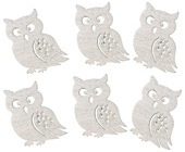 Wooden Owl 4,5 cm, 6 pcs w/Tape