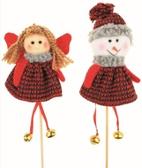 Angel and Snowman on Stick, 13 cm+stick, knittted