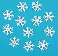 Snowflakes with double-sided Sticker, White with Star,12 pcs