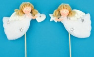 Angel on Stick, 10 cm+stick, White Plush