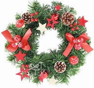 Christmas Wreath with Red Bow with Polka-Dots 30 cm